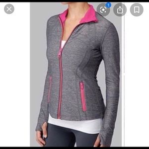 Lululemon Grey Define Jacket with Hot Pink Zippers